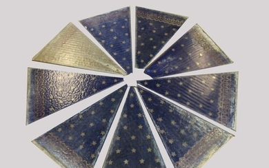 A COLLECTION OF LATE VICTORIAN PAINTED GLASS PANELS. A colle...