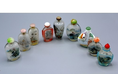 A Collection of Eight Chinese Glass Scent Bottles together w...