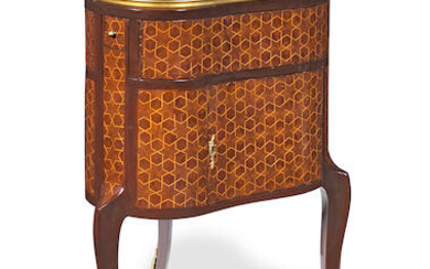 A French late 19th/early 20th century rosewood and parquetry heart-shaped mechanical table de toilette