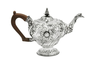 A George II sterling silver teapot, London 1759 by