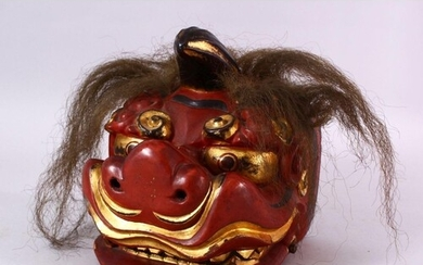 A JAPANESE MEIJI / TAISHO PERIOD LACQUER HANNYA / DEVIL MASK...