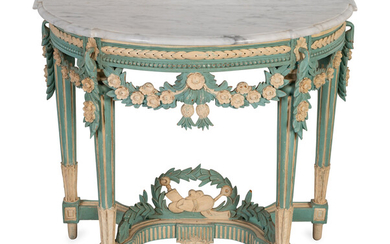 A Louis XVI Style Marble Top Polychromed Demi-lune Console