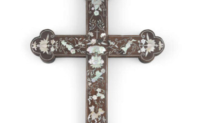 §A MOTHER OF PEARL INLAID WOOD APOSTLE CROSS...