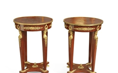 A PAIR OF EMPIRE STYLE BRASS-MOUNTED MAHOGANY GUÉRIDONS, of ...