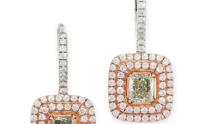 A PAIR OF GREEN, PINK AND WHITE DIAMOND EARRINGS in