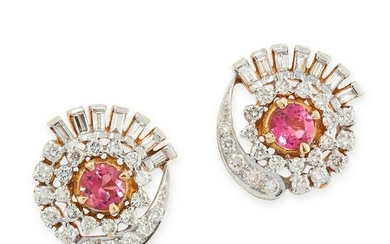 A PAIR OF PINK TOURMALINE AND DIAMOND STUD EARRINGS