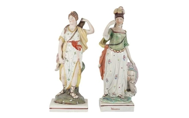 A PAIR OF STAFFORDSHIRE PEARLWARE POTTERY FIGURES OF MINERVA AND DIANA, 19TH CENTURY