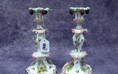 A Pair of Early XX Century German Porcelain Candlesticks, of...