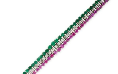 A RUBY, EMERALD AND DIAMOND BRACELET set with a row of