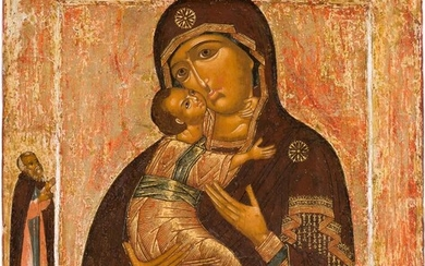 A VERY FINE ICON SHOWNG THE VLADIMIRSKAYA MOTHER OF...