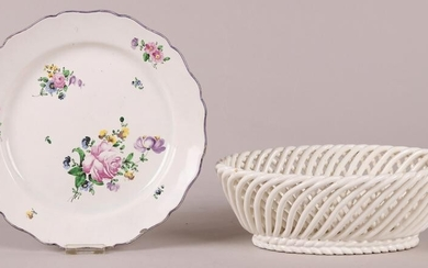 A Veuve Perrin Faience Plate and a Basket