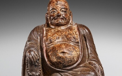 A cast iron figure of Milefo, also called Budai. Ming dynasty, 15th/16th century