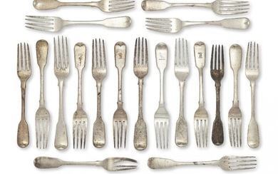 A collection of Georgian and later silver dessert forks, of fiddle pattern, various dates and makers including: a harlequin set of five Georgian dessert forks with armorial to reverse of terminal, two Exeter, c.1821, Joseph Hicks; a pair of George...