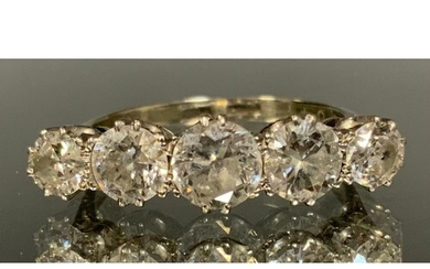 A diamond quintet line ring, central round old brilliant cut...