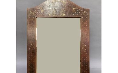 A gilt tooled dark brown leather wall mirror by Callow of Pa...