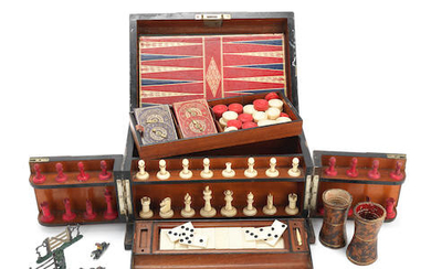 A late Victorian plated brass mounted coromandel games compendium