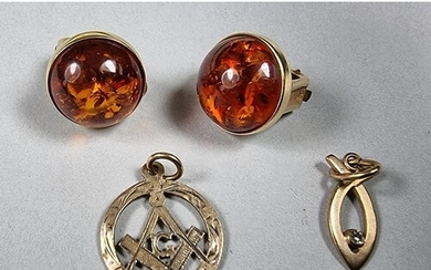 A pair of Austrian gold and amber ear clips and two 9ct gold...