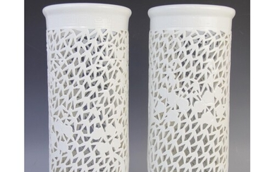 A pair of Chinese blanc de chine reticulated sleeve vases, 2...