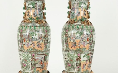A pair of large Chinese Famille Rose vases