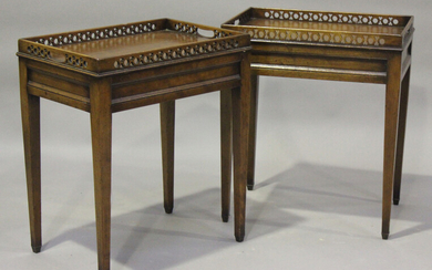A pair of late 20th century reproduction mahogany occasional tables with pierced galleries, height 6
