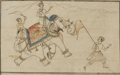 A portrait of an elephant, Rajasthan, India, mid-19th century, opaque pigments and ink on paper, finely dressed with an elaborate saddle cloth featuring a lion and deer, and with a mahout and attendants, framed, painting 23.5 x 16cm.