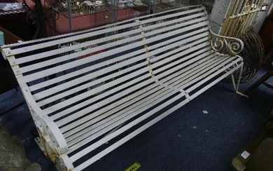 A vintage wrought iron white painted Garden Bench, with scro...