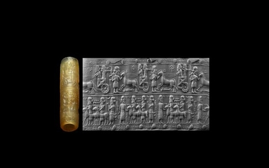 Achaemenid Cylinder Seal with Battle Scene