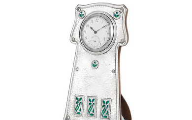 An Edwardian Arts and Crafts silver and enamel timepiece
