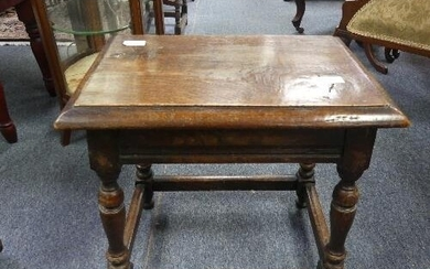 An antique oak joint Stool, the rectangular seat with moulde...