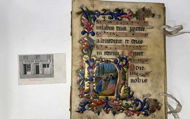 An illuminated vellum covered album, early 20th century, 33 x 27cm, the front board painted with a