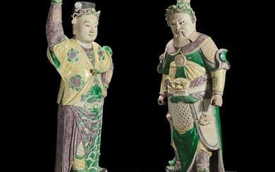 An unusual pair of large Chinese famille-verte decorated porcelain guardians 五彩门神一对 18th century 十八世纪