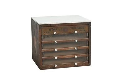 Antique Advertising Sewing Cabinet: Star Threads.