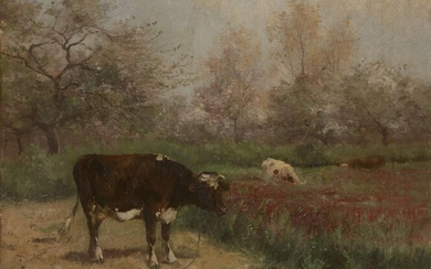Aymar Alexandre Pezant, French 1846-1916- Cows grazing in a meadow on a summer's day; oil on canvas, signed (lower right), numbered '15' in stencil (on the reverse) 54 x 65.2 cm., (unframed). Note: A native of Normandy, and influenced by the...