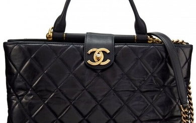Chanel Navy Quilted Calfskin Leather Top Handle