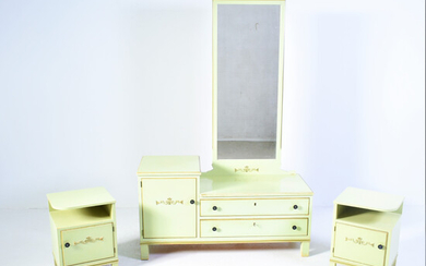 Chest of drawers WITH MIRROR, BED TABLE 1 pair 1900s.