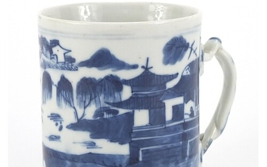 Chinese blue and white porcelain mug hand painted with figur...