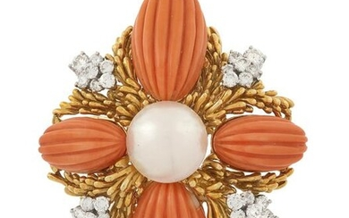 Coral, Pearl and Diamond Brooch
