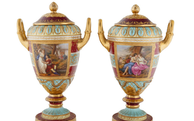 FIRST HALF 20TH CENTURY PAIR OF ACKERMANN & FRITZE PORCELAIN COVERED URNS