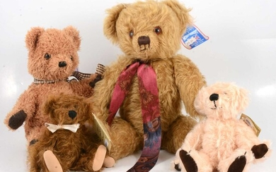 Four teddy bears, including Merrythought long haired bear, signed Oliver Holmes