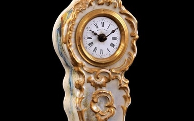 (-), French mantel clock with rocaille crest, enamel...