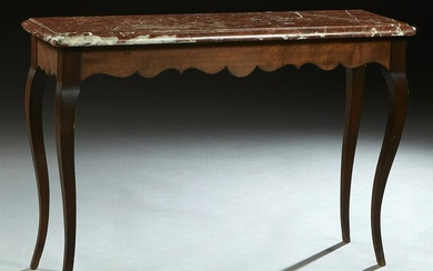 French Louis XV Style Carved Beech Marble Top Console
