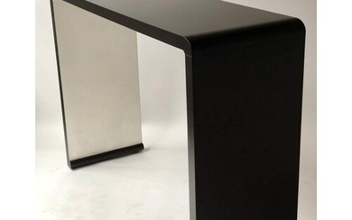 HALL CONSOLE TABLE, contemporary black lacquered arched form...