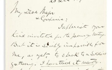 HAYES, RUTHERFORD B. Autograph Letter Signed, to Lewis