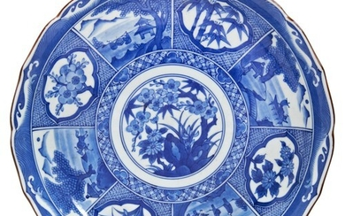 JAPANESE BLUE AND WHITE BARBED DISH MEIJI PERIOD (1868-1912...