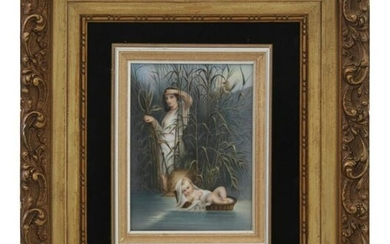 Finding of Moses Porcelain Plaque