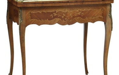 LOUIS XV STYLE MAHOGANY MARQUETRY GAMES TABLE