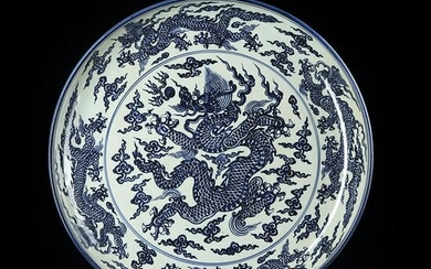 Large Chinese Blue And White Porcelain Plate