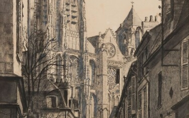 Marcel BASCOULARD (1913-1978)Rue de Bourges, 1942Inkand ink wash.Signed and dated lower right.36,5 x 25 cm