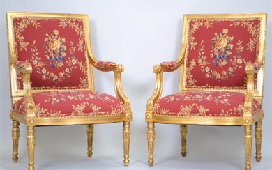 PAIR OF LOUIS XVI STYLE GILTWOOD FAUTEUILS