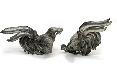 Pair 900 Italian Sterling Silver Rooster Figurines.